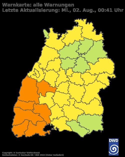Aktuelle Wetterwarnungen für Heilbronn